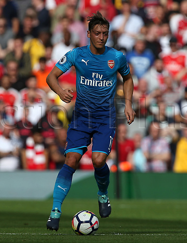 27th August 2017, Anfield, Liverpool, England; EPL Premier League football, Liverpool versus Arsenal; Mesut Ozil of Arsenal brings the ball forward to set up an attack