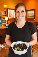 Nicolle Meadors, Server with Beet Salad at Open Door in Sisters Oregon