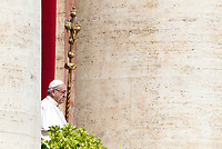 Pope Francis appears at the central balcony of St. Peter's Basilica before to deliver the Easter's Urbi et Orbi message in St. Peter's Square at the Vatican, April 1, 2018.<br /> UPDATE IMAGES PRESS/Riccardo De Luca<br /> <br /> STRICTLY ONLY FOR EDITORIAL USE