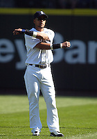 04 October 2009: Seattle Mariners center fielder #21 Franklin Gutierrez warms up before the game against the Texas Rangers. Seattle won 4-3 over the Texas Rangers at Safeco Field in Seattle, Washington.