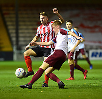Lincoln City U18's Charlie West vies for possession with  South Shieldsy U18's Joe Lockey<br /> <br /> Photographer Andrew Vaughan/CameraSport<br /> <br /> The FA Youth Cup Second Round - Lincoln City U18 v South Shields U18 - Tuesday 13th November 2018 - Sincil Bank - Lincoln<br />  <br /> World Copyright © 2018 CameraSport. All rights reserved. 43 Linden Ave. Countesthorpe. Leicester. England. LE8 5PG - Tel: +44 (0) 116 277 4147 - admin@camerasport.com - www.camerasport.com