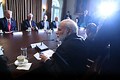 Indian Prime Minister Narendra Modi attends a meeting in the Cabinet Room with U.S. President Donald Trump and members of his cabinet at the White House June 26, 2017 in Washington, DC. Trump and Modi discussed a range of bilateral issues. <br /> Credit: Mark Wilson / Pool via CNP
