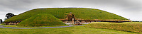 Panoramic view of Great Mound, Knowth, c. 3000 BC, Bru na Boinne, County Meath, Ireland. The megalithic Great Mound was probably built after Newgrange and before Dowth. Similar in size to Newgrange it is surrounded by 18 smaller satellite mounds and has two passages. Picture by Manuel Cohen