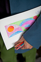 One of Paolo Bagnara's colourful designs in the hands of the designer himself