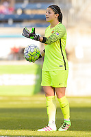 Bridgeview, IL, USA - Saturday, April 23, 2016: Western New York Flash goalkeeper Sabrina D'Angelo (1) during a regular season National Women's Soccer League match between the Chicago Red Stars and the Western New York Flash at Toyota Park. Chicago won 1-0.