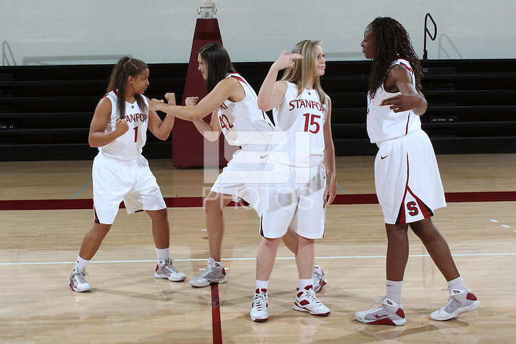 STANFORD, CA - SEPTEMBER 28:  Grace Mashore, Sarah Boothe, Lindy La Rocque, Nnemkadi Ogwumike during picture day on September 28, 2009 at Maples Pavilion in Stanford, California.