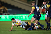 29th September 2017, Sixways Stadium, Worcester, England; Aviva Premiership Rugby, Worcester Warriors versus Saracens; Alex Lozowski of Saracens can't quite reach the try line