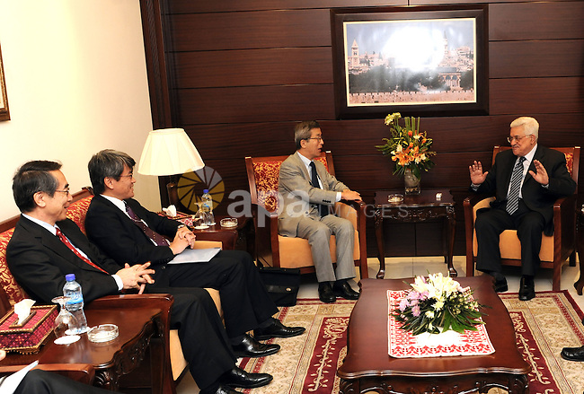 Palestine President Mahmoud Abbas (Abu Mazen) receives Japanese envoy to the peace process in the Middle Alaustaleom in Ramallah on Nov. 19, 2011. Photo by Mufeed Abu Hasnah