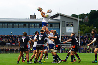 Dave Attwood of Bath Rugby wins the ball at a lineout. Pre-season friendly match, between Edinburgh Rugby and Bath Rugby on August 17, 2018 at Meggetland Sports Complex in Edinburgh, Scotland. Photo by: Patrick Khachfe / Onside Images