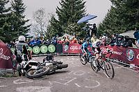 avoiding a crashed moto up the infamous Monte Zoncolan (1735m/11%/10km)<br /> <br /> stage 14 San Vito al Tagliamento &ndash; Monte Zoncolan (186 km)<br /> 101th Giro d'Italia 2018