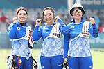 (L-R) <br /> Kaori Kawanaka, <br />  Ayano Kato, <br />  Tomomi Sugimoto (JPN), <br /> AUGUST 27, 2018 - Archery : <br /> Women's Recurve Team Bronze Medal Match<br /> at Gelora Bung Karno Archery Field <br /> during the 2018 Jakarta Palembang Asian Games <br /> in Jakarta, Indonesia. <br /> (Photo by Naoki Morita/AFLO SPORT)