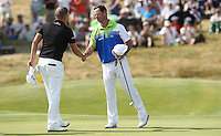 Jaco Van Zyl (RSA) shakes the hand of James Morrison (ENG) as they end their Round Three of the 2015 Alstom Open de France, played at Le Golf National, Saint-Quentin-En-Yvelines, Paris, France. /04/07/2015/. Picture: Golffile | David Lloyd<br /> <br /> All photos usage must carry mandatory copyright credit (© Golffile | David Lloyd)