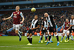 Frederic Guilbert of Aston Villa flicks past Jonjo Shelvey of Newcastle United during the Premier League match at Villa Park, Birmingham. Picture date: 25th November 2019. Picture credit should read: Darren Staples/Sportimage