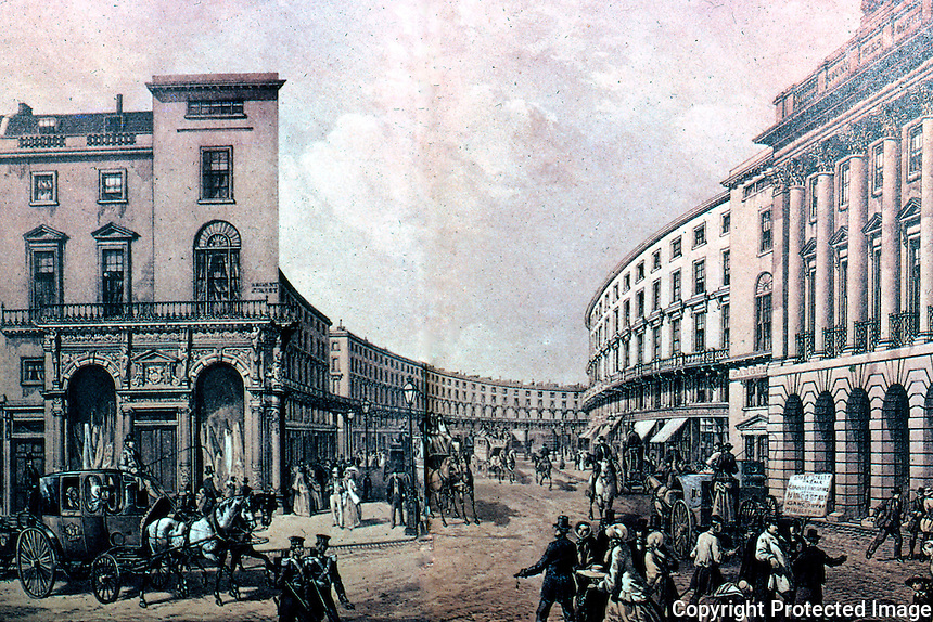 London: The Quadrant, 1852. Regent St. After removal of collonades & balconies in 1848.