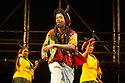 London, UK. 17.05.12. Isango Ensemble present a programme of three productions, at the Hackney Empire: La Boheme, the Ragged Trousered Philanthropists, and Aesop's Fables. Picture shows The Goats (Mandisi Dyantyis, Puleng Jackals, Zodwa Mrasi, Nontuthuzelo Ntshona and Luvo Rasemani) in Aesop's Fables.