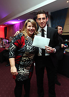 Pictured L-R: Kate Rees and Angel Rangel.  Wednesday 10 April 2013<br /> Re: Swansea footballer Angel Rangel and wife Nicky's cancer charity fundraising dinner at the Liberty Stadium.