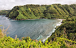 A view of Honomanu Bay, with its black sand beach, as seen from the Hana Highway, Maui, Hawaii