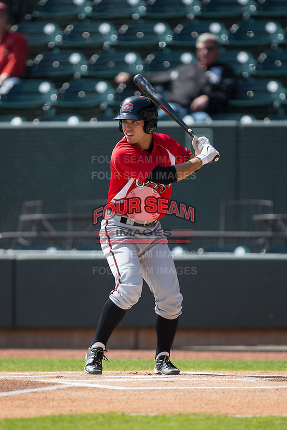 Eric Garcia (12) of the Carolina Mudcats at bat against the Winston-Salem Dash at BB&T Ballpark on April 22, 2015 in Winston-Salem, North Carolina.  The Dash defeated the Mudcats 4-2..  (Brian Westerholt/Four Seam Images)