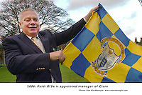 "27-11-06 A long way from here to Clare..! Paidi O""Se has been announced as the new Clare Manager with immediate effect. Picture shows Paidi in Killarney on Monday proudly flying the Blue and Yellow colours of his latest team having previously manager Kerry and Westmeath..Picture by Don MacMonagle"