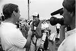 Scott Pierce, then driving for Bill Wurster's Executone, is interviewed by the ate great Don Poier after winning the race in Miami. It was Pierce's first win as an unlimited driver.