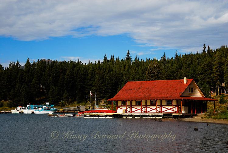 Lake Maligne boat house. Jasper National Park