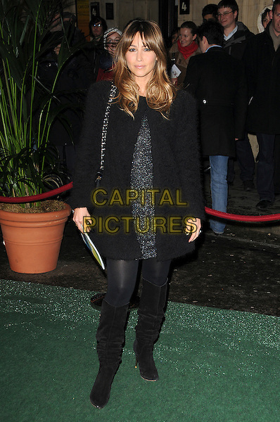 RACHEL STEVENS.Arrivals at Cirque du Soleil's Varekai gala opening night at the Royal Albert Hall, London, England. .January 5th, 2009.full length  black grey gray coat jacket dress silver  boots.CAP/CAS.©Bob Cass/Capital Pictures.