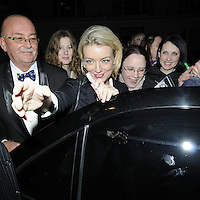 """SHERIDAN SMITH .Departed after the first preview performance of """"Flare Path"""", Haymarket, London, England, UK, 4th March 2011..portrait headshot pen gesture fans  black  hand .CAP/CAN.©Can Nguyen/Capital Pictures."""