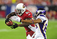 Dec 6, 2009; Glendale, AZ, USA; Arizona Cardinals wide receiver (81) Anquan Boldin catches a pass for a touchdown in the second quarter against the Minnesota Vikings at University of Phoenix Stadium. Mandatory Credit: Mark J. Rebilas-