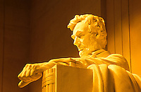 Abrahan Lincoln statue inside the Memorial in Washington DC, USA