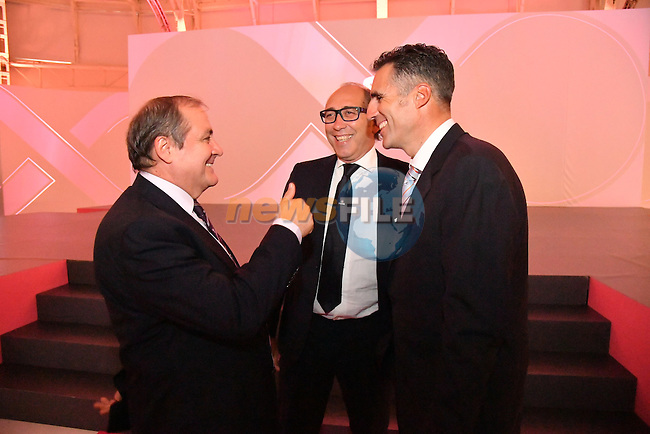 Race Director Mauro Vegni RCS and Miguel Indurain at the 100th edition Giro d`Italia 2017 route presentation held at the Ice Palace in Milan, 25th October 2016.<br /> Picture: ANSA/Luca Zennaro | Newsfile<br /> <br /> <br /> All photos usage must carry mandatory copyright credit (&copy; Newsfile | ANSA/Luca Zennaro)