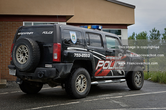 A police car is pictured in the Waswanipi Cree reserve in the province of Quebec, Canada, July 17, 2009. Waswanipi is a Cree / Lynu / Innu reserve located provincial road 113 and has a population of 1,473 people.