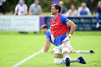 Luke Charteris of Bath Rugby looks on during the pre-match warm-up. Pre-season friendly match, between Bristol Rugby and Bath Rugby on August 12, 2017 at the Cribbs Causeway Ground in Bristol, England. Photo by: Patrick Khachfe / Onside Images