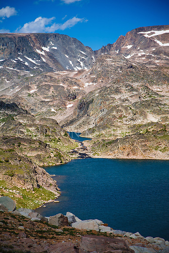 Two of the cloverleaf lakes in the beartooth wilderness in montana