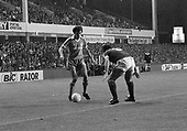 26/08/1980 Everton v Blackpool League Cup 2nd Round 1st Leg .Bobby Doyle prepares to take on Mick Lyons....© Phill Heywood.