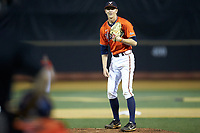 Virginia Cavaliers relief pitcher Blake Rohm (29) looks to his catcher for the sign against the Wake Forest Demon Deacons at David F. Couch Ballpark on May 18, 2018 in  Winston-Salem, North Carolina.  The Cavaliers defeated the Demon Deacons 15-3.  (Brian Westerholt/Four Seam Images)