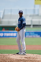 GCL Rays relief pitcher Angel Felipe (35) gets ready to deliver a pitch during a game against the GCL Red Sox on August 1, 2018 at JetBlue Park in Fort Myers, Florida.  GCL Red Sox defeated GCL Rays 5-1 in a rain shortened game.  (Mike Janes/Four Seam Images)