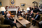 U.S. President Barack Obama, center, speaks as he meets with the 2016 American Nobel Prize laureates including Oliver Hart, professor at Harvard University and winner of the 2016 Sveriges Riksbank Prize in economic sciences in memory of Alfred Nobel, from left, F. Duncan Haldane, professor at Princeton University and laureate of the 2016 Nobel Prize in physics, J. Fraser Stoddart, professor at Northwestern University and laureate of the 2016 Nobel Prize in chemistry, and J. Michael Kosterlitz, professor at Brown University and laureate of the 2016 Nobel Prize in physics, in the Oval Office of the White House in Washington, D.C., U.S., on Wednesday, Nov. 30, 2016. Annual prizes for achievements in physics, chemistry, medicine, peace and literature were established in the will of Alfred Nobel, the Swedish inventor of dynamite, who died in 1896. <br /> Credit: Andrew Harrer / Pool via CNP
