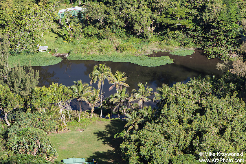 Aerial view of Waipio River in Waipio Valley, Big Island, Hawaii