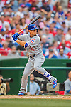 15 June 2016: Chicago Cubs outfielder Albert Almora Jr. in action against the Washington Nationals at Nationals Park in Washington, DC. The Cubs fell to the Nationals 5-4 in 12 innings, giving up the rubber match of their 3-game series. Mandatory Credit: Ed Wolfstein Photo *** RAW (NEF) Image File Available ***