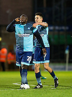 Adebayo Akinfenwa of Wycombe Wanderers celebrates his goal with Luke O'Nien during the Sky Bet League 2 match between Wycombe Wanderers and Luton Town at Adams Park, High Wycombe, England on the 21st January 2017. Photo by Liam McAvoy.