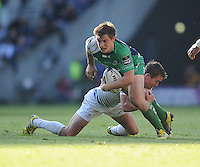 28/05/2016;Guinness Pro12 Final<br /> Connacht&rsquo;s AJ MacGinty is tackled by Eoin Reddan of Leinser.<br /> Photo Credit: actionshots.ie/Tommy Grealy