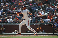 SAN FRANCISCO, CA - APRIL 8:  Joe Panik #12 of the San Francisco Giants bats against the Los Angeles Dodgers during the game at AT&T Park on Sunday, April 8, 2018 in San Francisco, California. (Photo by Brad Mangin)