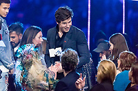 Shawn Mendes is happy about an award during the show of the 2017 MTV Europe Music Awards, EMAs, at SSE Arena, Wembley, in London, Great Britain, on 12 November 2017. Photo: Hubert Boesl <br />