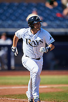 Peoria Javelinas Nick Ciuffo (13), of the Tampa Bay Rays organization, during a game against the Mesa Solar Sox on October 19, 2016 at Peoria Stadium in Peoria, Arizona.  Peoria defeated Mesa 2-1.  (Mike Janes/Four Seam Images)