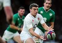 George Ford of England passes the ball. RBS Six Nations match between England and Ireland on February 27, 2016 at Twickenham Stadium in London, England. Photo by: Patrick Khachfe / Onside Images