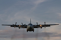 A Lockheed C130 Hercules with the Japanese Maritime Self Defence Force (JMSDF) landing at Naval Air Facility, Atsugi airbase near Yamato, Kanagawa, Japan. Wednesday September 25th 2019