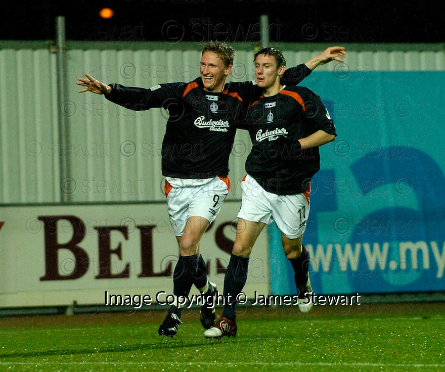 28/11/2004  Copyright Pic : James Stewart.File Name : jspa05_falkirk_v_ross_county.DANIEL MCBREEN CELEBRATES WITH DAYRLL DUFFY AFTER SCORING FALKIRK'S FIRST..........Payments to :.James Stewart Photo Agency 19 Carronlea Drive, Falkirk. FK2 8DN      Vat Reg No. 607 6932 25.Office     : +44 (0)1324 570906     .Mobile   : +44 (0)7721 416997.Fax         : +44 (0)1324 570906.E-mail  :  jim@jspa.co.uk.If you require further information then contact Jim Stewart on any of the numbers above.........