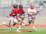 Palos Verdes, CA 03/26/16 - Jack Quinn (Palos Verdes #23), unidentified San Clemente player(s) in action during the CIF Boys Lacrosse game between San Clemente Tritons and the Palos Verdes Seakings at Palos Verdes High School.  Palos Verdes defeated San Clemente 11-6