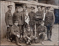BNPS.co.uk (01202 558833)<br /> Pic: PhilYeomans/BNPS<br /> <br /> Herts Regt - Pte William Taylor (3rd left back) at the start of the war.<br /> <br /> Saved by pictures of his loving family...<br /> <br /> An amazing tale of a heroes lucky survival through the entire First World War has been uncovered after his family revealed his remarkable tale to a local history group.<br /> <br /> Photos of loved ones that saved a soldier's life by stopping a piece of shrapnel aimed for his heart have come to light - complete with the holes the fragment left behind.<br /> <br /> Private William Taylor kept the nine pictures of his family in his wallet in his breast pocket during the entire four years of World War One.<br /> <br /> In a remarkable quirk of fate he survived a battle which left three quarters of his regiment dead or injured thanks to the stack of photos which took the impact of a shell blast.<br /> <br /> The projectile pierced the outer layer of his leather wallet and perforated eight of the nine photos.<br /> <br /> Luckily, the last picture of his younger sister Lilly stopped the fragment from going any further.