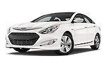Stock pictures of low aggressive front three quarter view of a 2015 Hyundai Sonata Hybrid Limited 4 Door Sedan Low Aggressive